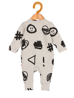 Nino Bambino 100% Organic Cotton Grey Color Full Sleeve Zipper Romper For Baby Boys