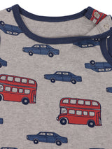 100% Organic Cotton Car and Bus Print Grey Sleeveless Half Romper