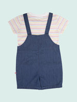 Nino Bambino 100% Organic Cotton Round Neck Strip T-Shirts & Dungaree Set For Unisex Babies & Kids