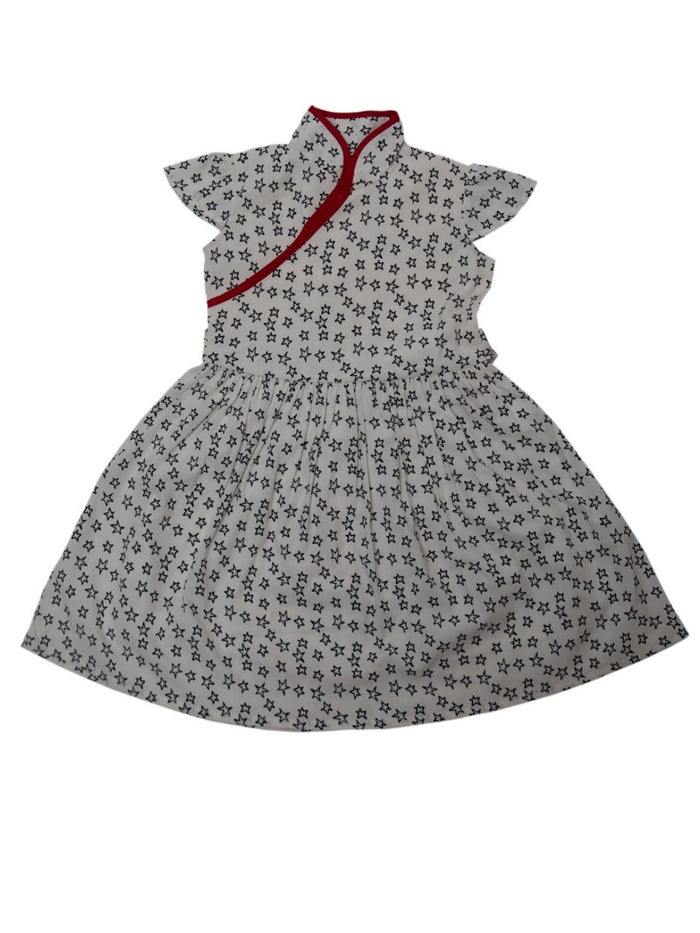 Nino Bambino 100% Organic Cotton Cap Sleeve Round Nack Printed White Frock Dress