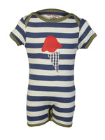Nino Bambino 100% Organic Cotton Blue Strip Ice Cream Applique Romper For Baby Girls