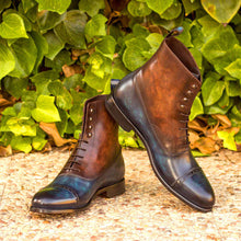 Load image into Gallery viewer, BALMORAL BOOTS - DENIM & BROWN PATINA
