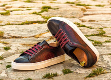 Load image into Gallery viewer, TRAINER - BURGUNDY & GREY PATINA