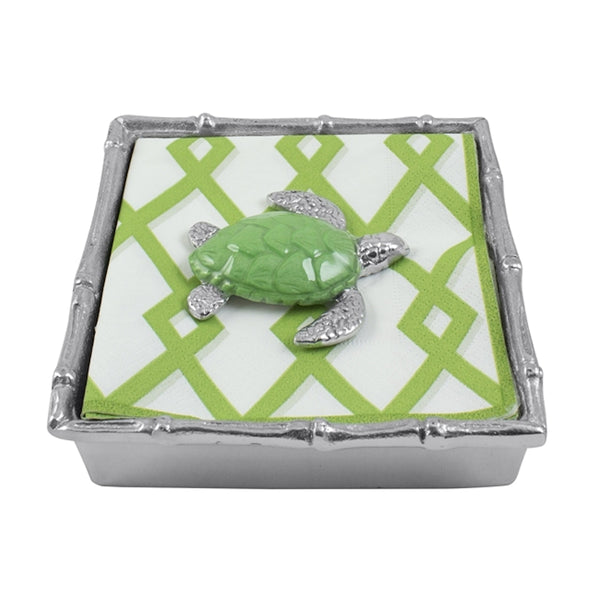 Green Sea Turtle Bamboo Cocktail Napkin Box