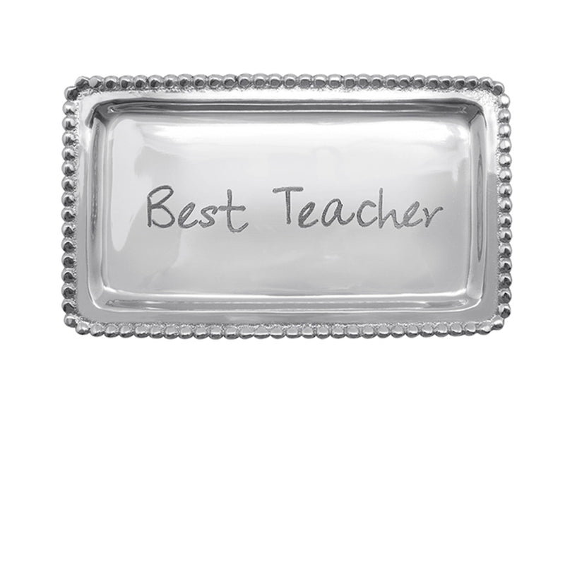 Best Teacher Beaded Statement Tray
