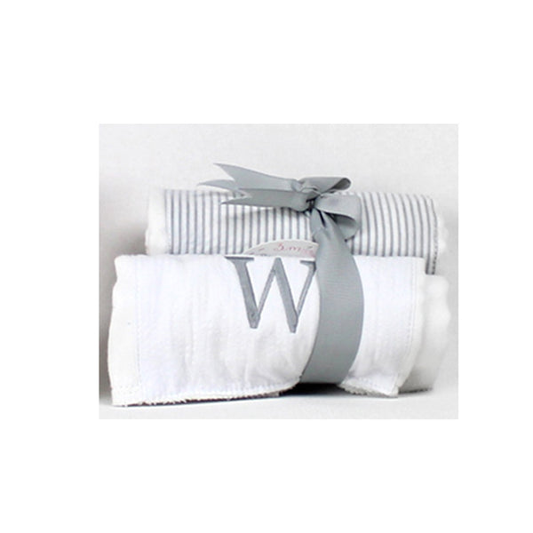 Initial Burp Towel Set Gray