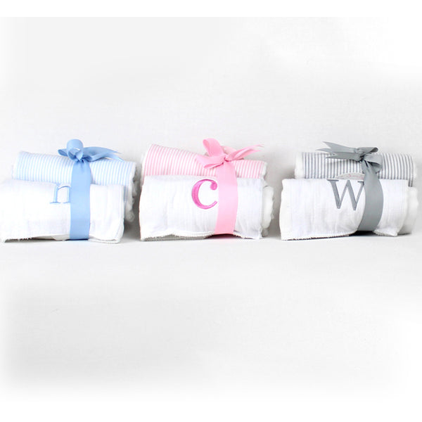 Initial Burp Towel Set Blue