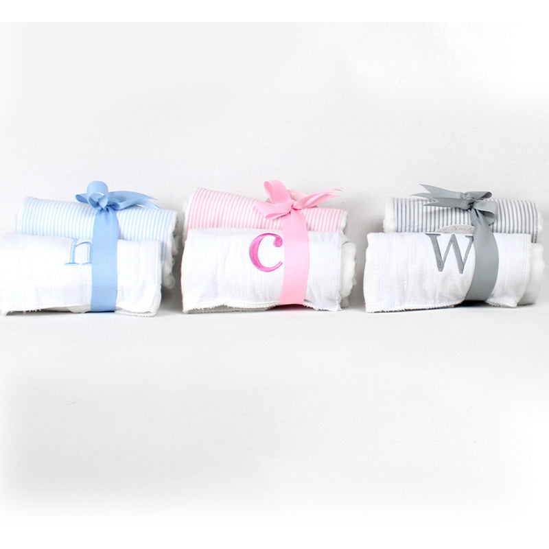 Initial Burp Towel Set Pink