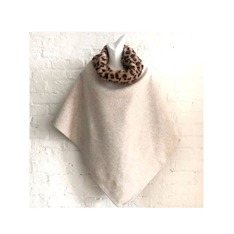 Poncho with Leopard Faux Fur Collar