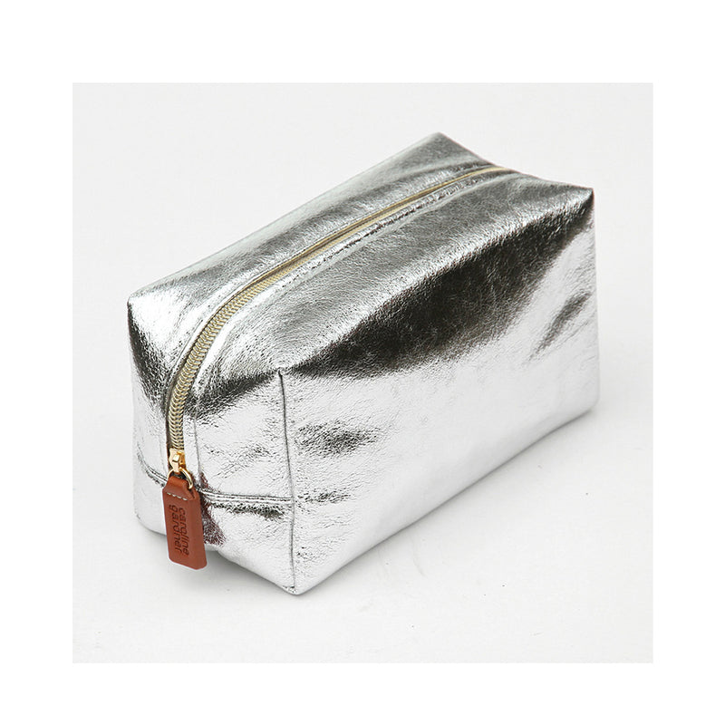 Silver Crackle Box Cosmetic Bag