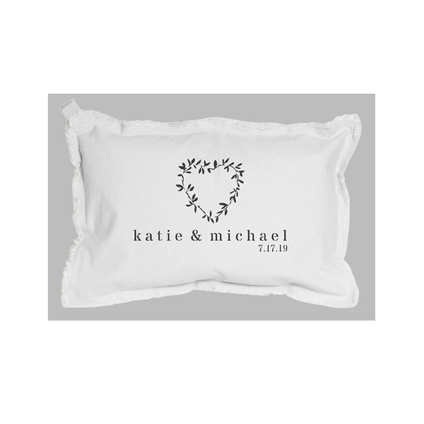 Laurel Heart Custom Canvas Pillow