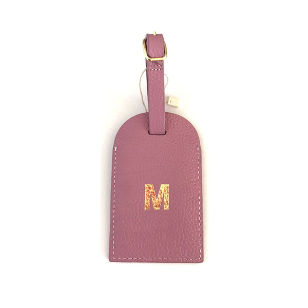 Initial Leather Luggage Tag Orchid