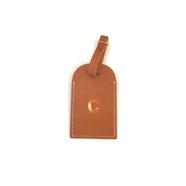 Initial Leather Luggage Tag Tan