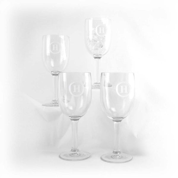 Initial Acrylic Wine Glasses