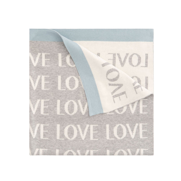 Love Cotton Knit Baby Blanket Blue