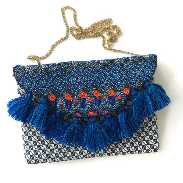 Blue Tassel Beaded Clutch