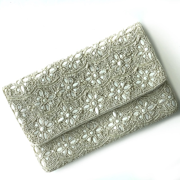 Ivory Flower Beaded Clutch
