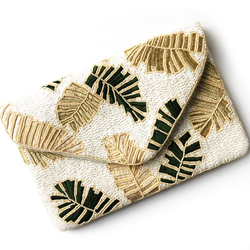 Palm Leaf Beaded Clutch