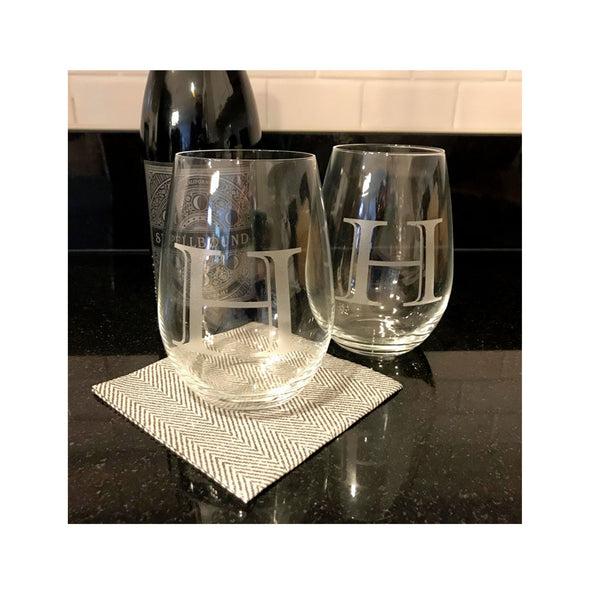 Initial Stemless Wine Set