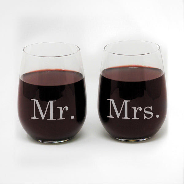 Mr & Mrs Stemless Wine Set