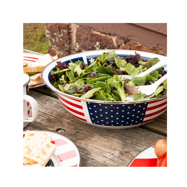 Stars & Stripes Enamel Serving Bowl