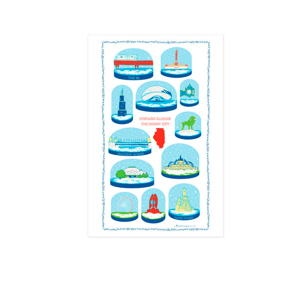 Chicago Snow Globes Kitchen Towel
