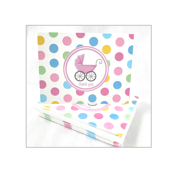 Pink Pram Folded Notecards