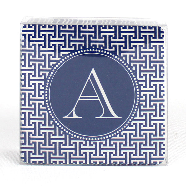 Initial Coasters - Greek Key Navy
