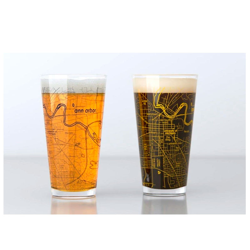 College Town Map Pint Glasses