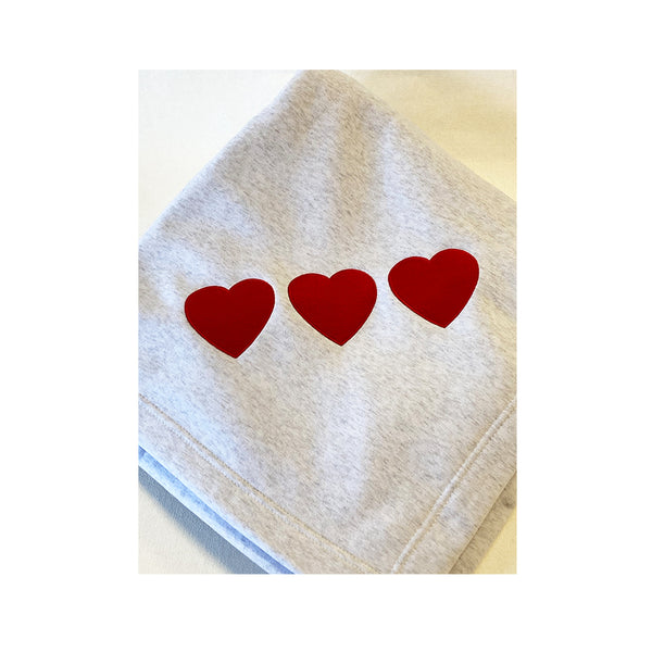 Triple Heart Sweatshirt Blanket