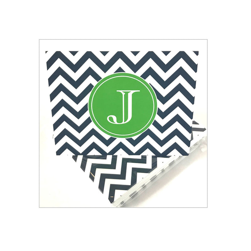 Initial Folded Notecards Chevron