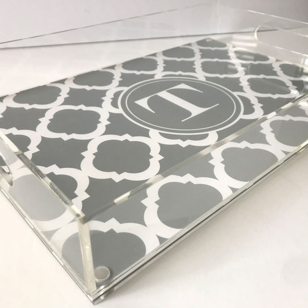 Initial Acrylic Tray - Gray Moroccan