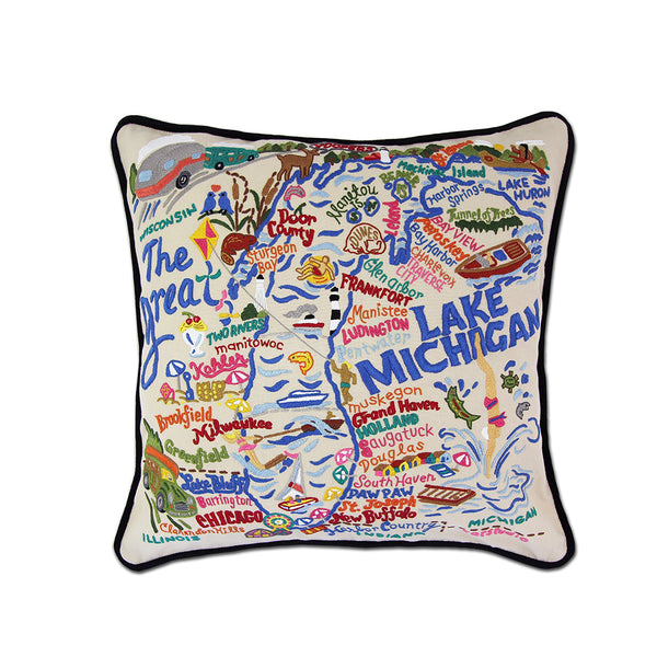 Lake Michigan Hand-Embroidered Pillow