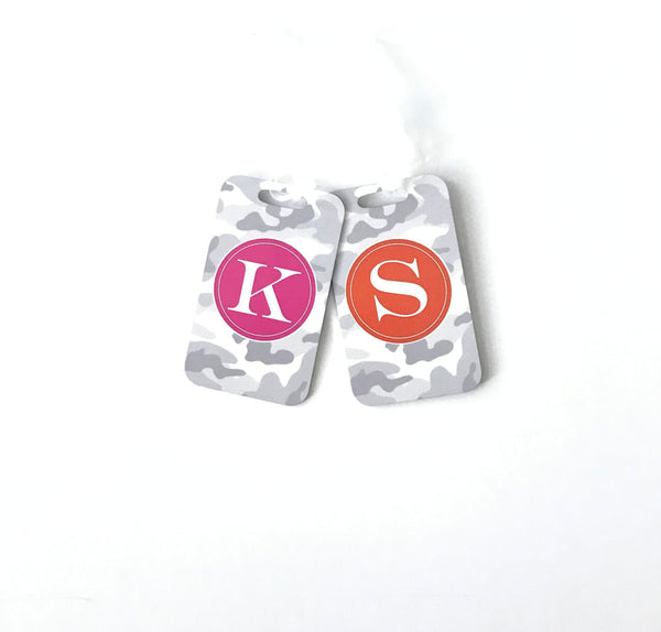 Initial Bag Tag White Camo