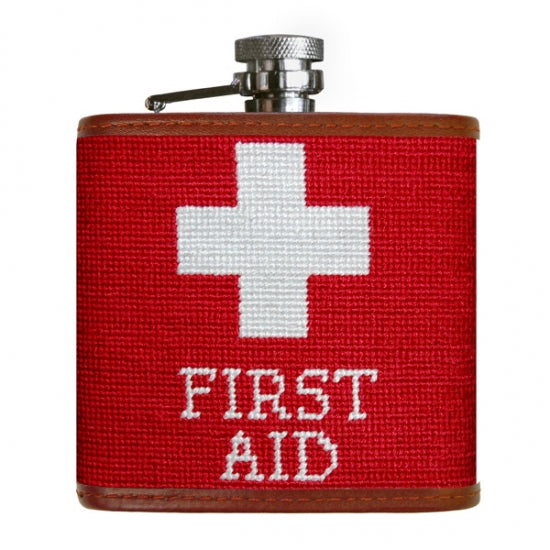 First Aid Needlepoint Flask