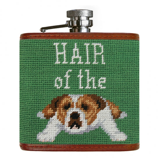 Dog Needlepoint Flask