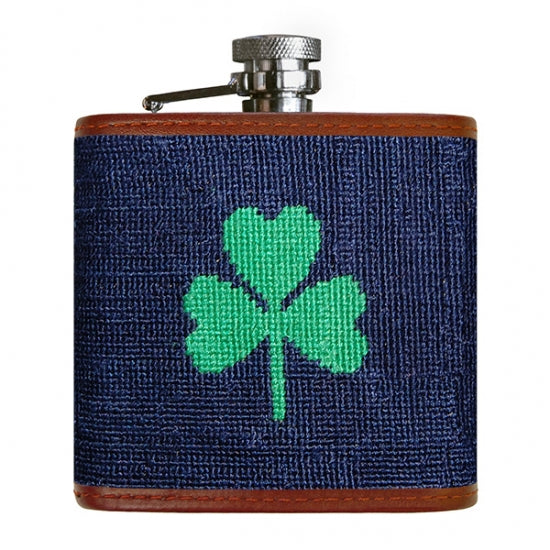 Shamrock Needlepoint Flask