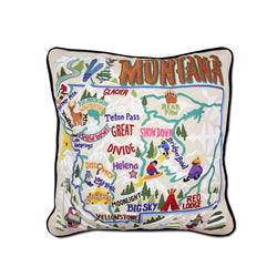 Ski Montana Hand-Embroidered Pillow