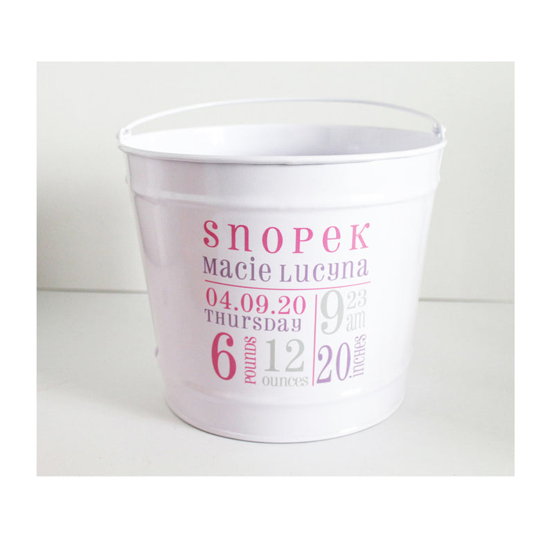 "Baby ""Stats"" Bucket Personalized"