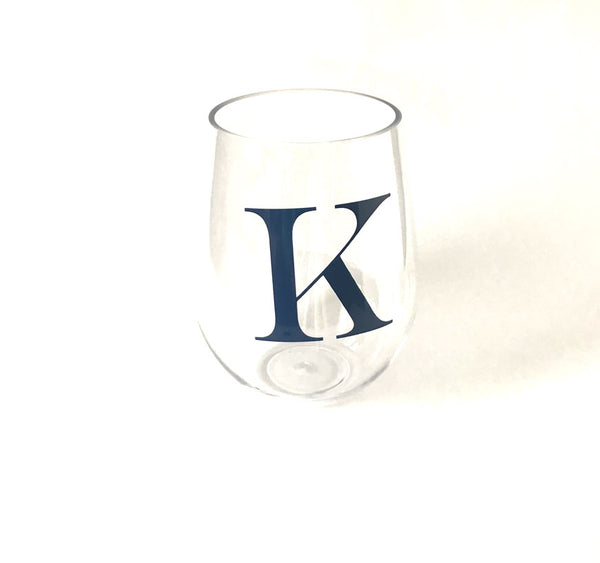 Initial Acrylic Stemless Wine