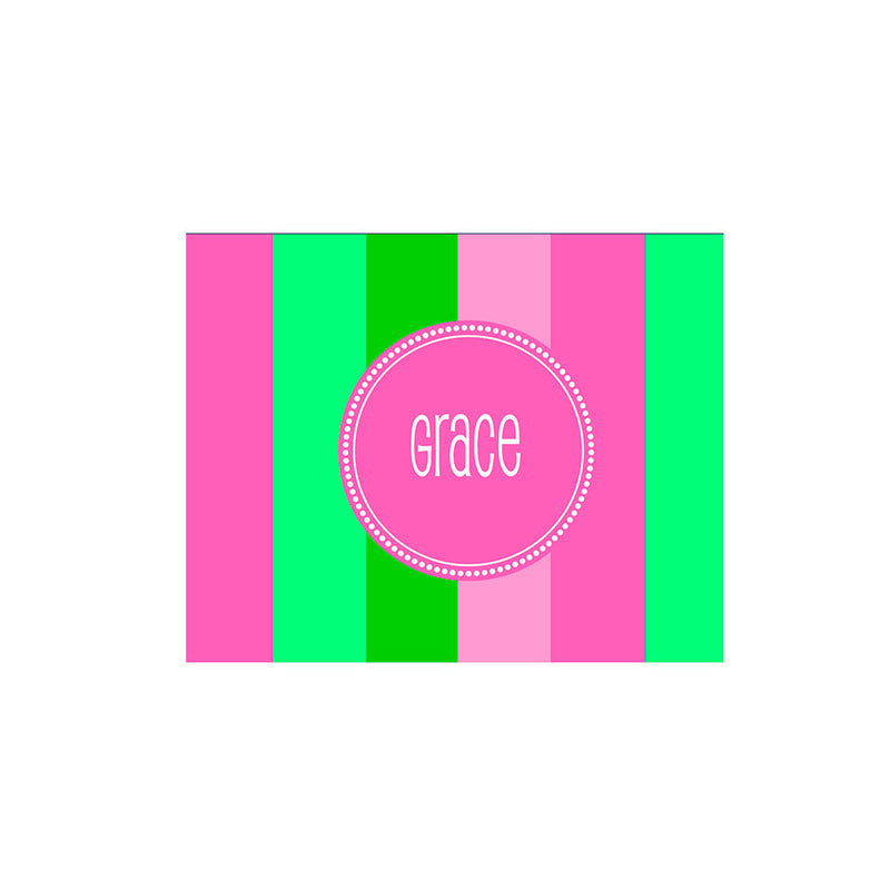 Bold Stripe Folded Notecards Personalized