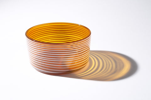 Large Golden Amber Cylindrical Bowl