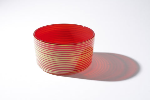 Small Red and Yellow Cylindrical Bowl