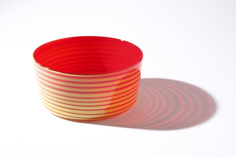 Large Red & Yellow Cylindrical Bowl