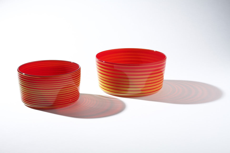 Small & Large Red with Yellow Conical Bowls
