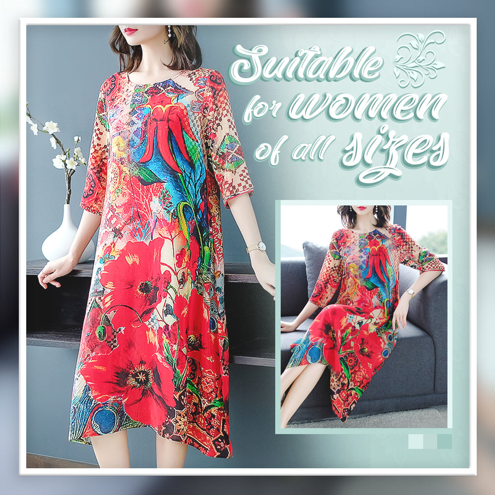 Fashion Big-Size Silk Floral Dress