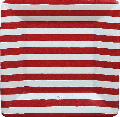 Red And White Stripe Sq Salad/dessert Plates Square