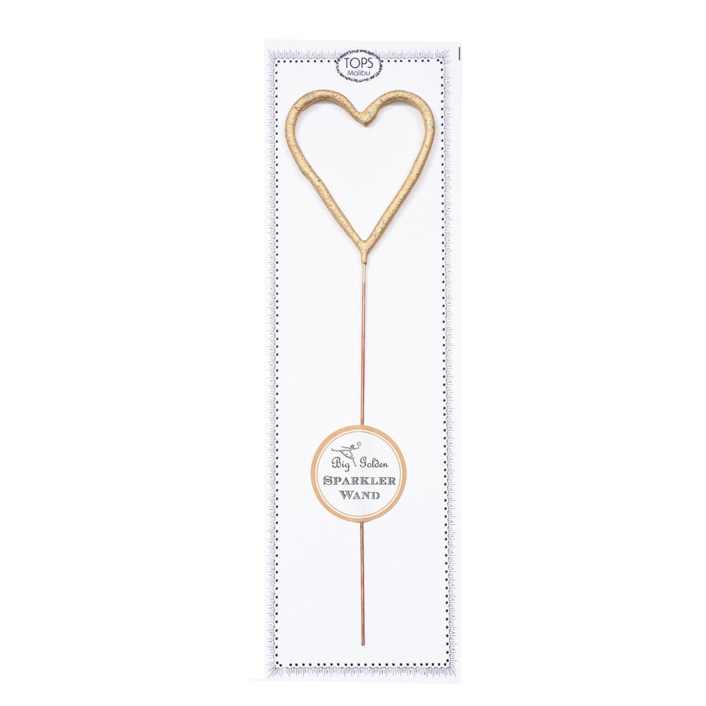 Big Golden Sparkler Heart Wand
