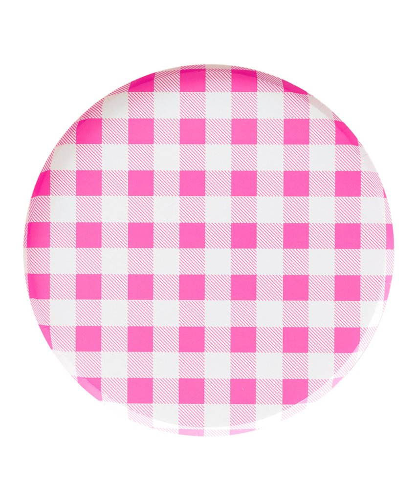 Neon Rose Gingham Plates Large