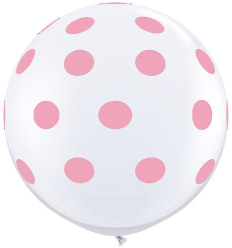 36 in Round Balloon Pink Polka Dots on White